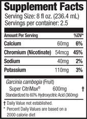NADA Peach Nutrition Label